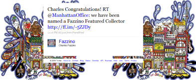 Tweet from Charles Fazzino to VH International Business Solutions