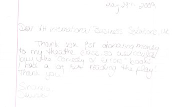 Thank you from Mr. O's Class