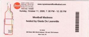 Meatball Madness Ticket