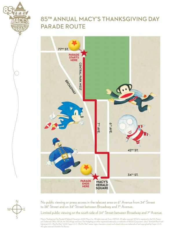 Macy's Thanks Day Parade Route Map – 2011 | NYC ... on eastern time zone map, central time zone map, bloomington map, bunker hill map, fremont map,