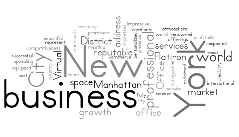 Manhattan Virtual Office Word Cloud About Us 2
