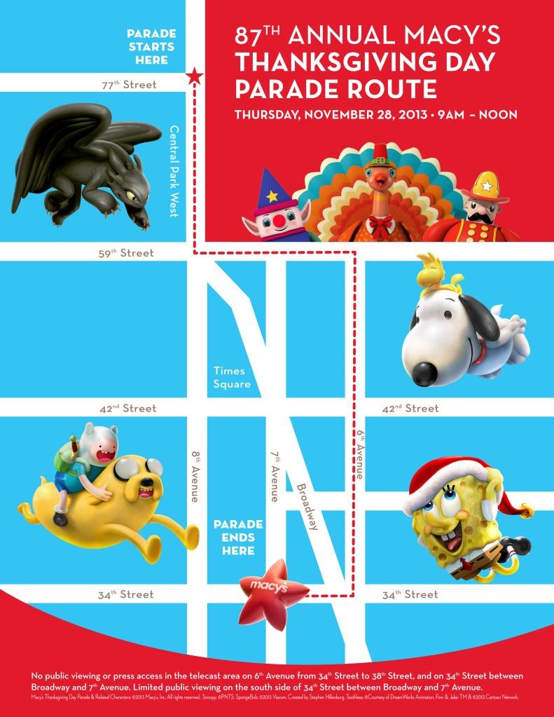 2013 macys parade route map